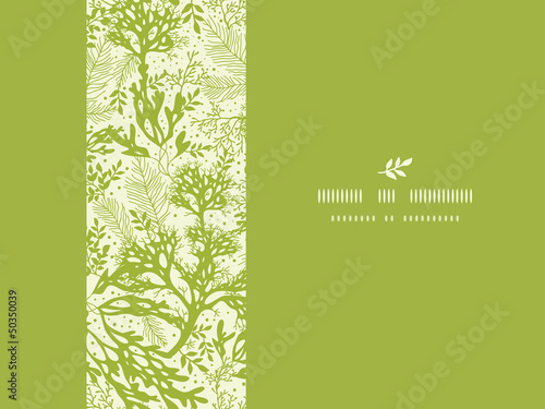 Obraz na plátně Vector green underwater seaweed horizontal seamless pattern