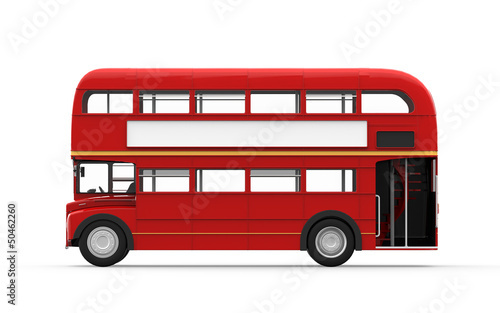 Fotografiet Red Double Decker Bus Isolated on White Background