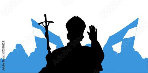 Pozdrowienie Papieża - pielgrzymi Fototapeta