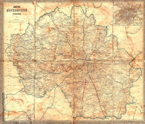 Obraz na plátně Moscow vintage map 1912