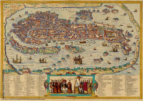 Canvas-taulu Venice old map