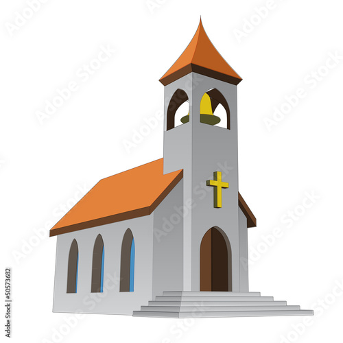 rural isolated church for catholics with bell vector