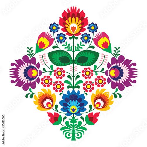Fototapeta Folk embroidery with flowers - traditional polish pattern