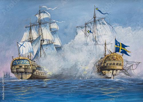 Canvas Print Battle of Sailing Ships