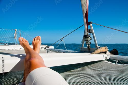 Foto Relaxing on a Catamaran