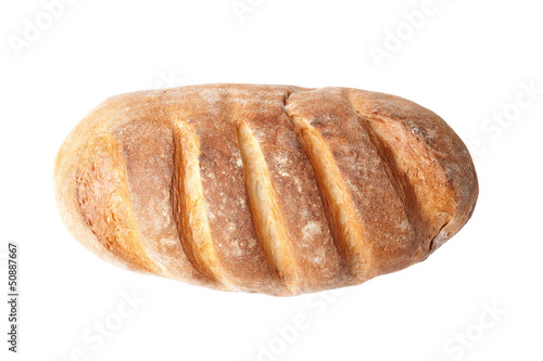 Stampa su Tela top view of french loaf bread isolated on white background