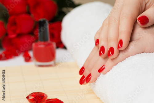 Photo Manicure - with red nail polish