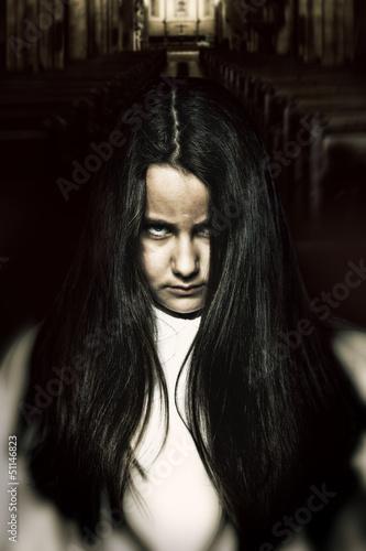 Stampa su Tela Scary Little Spooky Girl