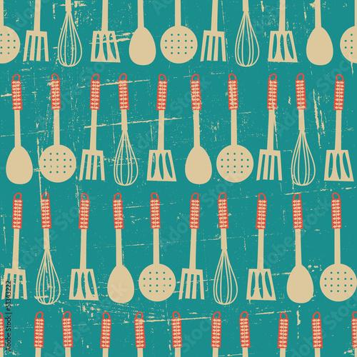 Ταπετσαρία τοιχογραφία Retro Kitchen Pattern