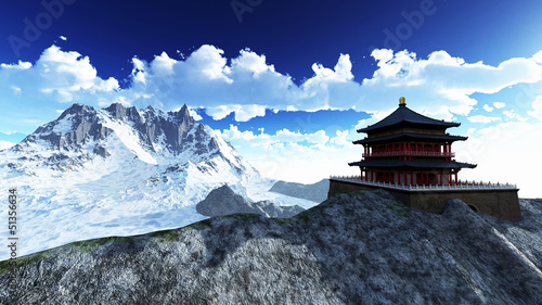 Photo Sun temple - Buddhist shrine in the Himalayas