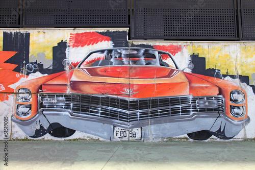 coche clásico americano rojo graffiti 4603f