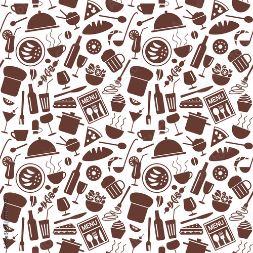 Restaurant menu related seamless pattern