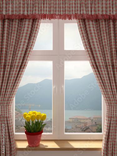 Fototapeta Okno z pięknym widokiem na zatokę ścienna