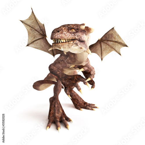 Dragon posing in a fierce position on a white background