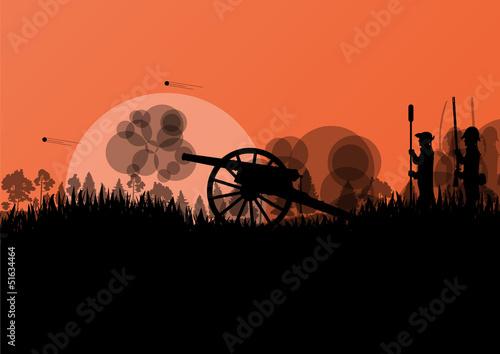 Old civil war battle field warfare soldier troops and artillery Fototapeta