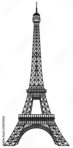 Fototapeta Eiffel Tower Black Silhouette