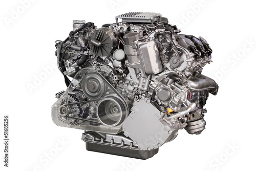 Fotografering powerful car engine isolated on white