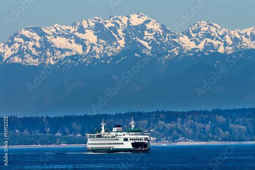 Fotografie, Obraz Seattle Bainbridge Island Ferry Puget Sound Olympijské hory