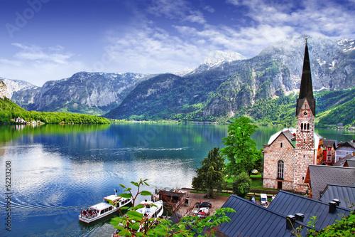 Stampa su Tela Hallstatt - beauty of Alps. Austria