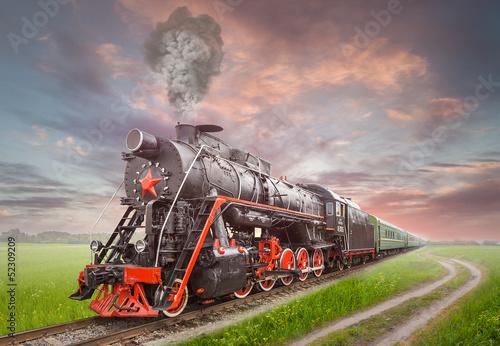Fotografia Retro Soviet steam locomotive