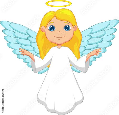 Carta da parati White angel cartoon