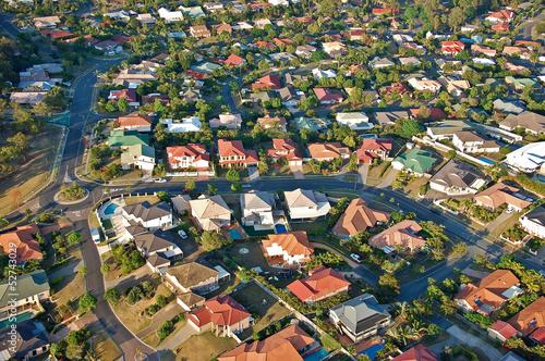 Photo Aerial view of the suburbs roofs near Brisbane, Australia.