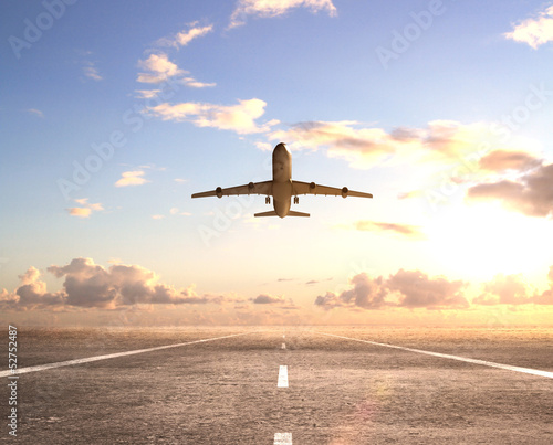 Wallpaper Mural airplane on runway