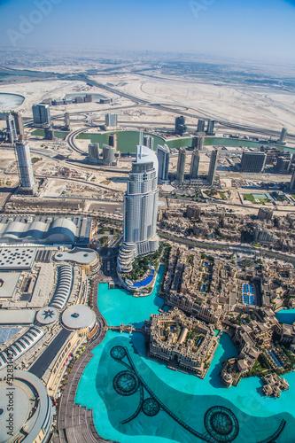 Carta da parati Dubai downtown. East, United Arab Emirates architecture. Aerial
