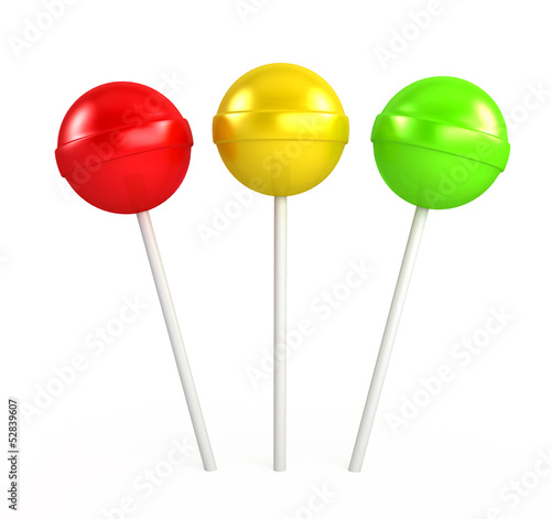 Stampa su Tela Red, yellow and green lollipop
