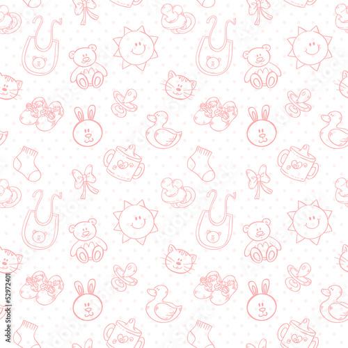 Baby toys cute cartoon set seamless pattern