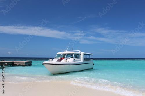 Stampa su Tela Motorboat Maledives