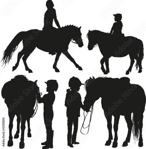 Carta da parati four happy child with a pony