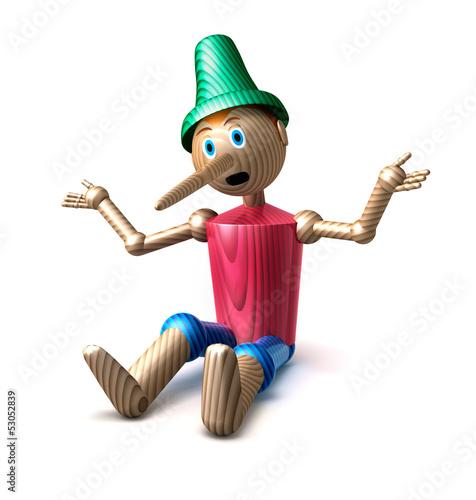 Stampa su Tela Pinocchio sitzend vor weiss