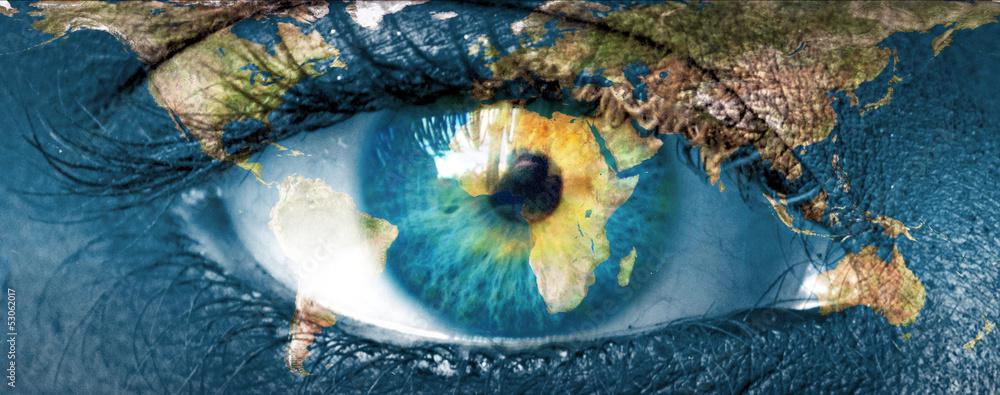 Planet earth and blue hman eye -