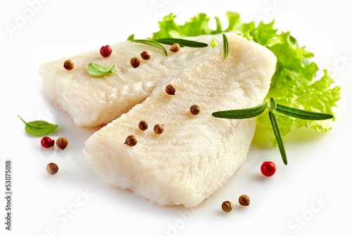 Photo prepared fish fillet pieces