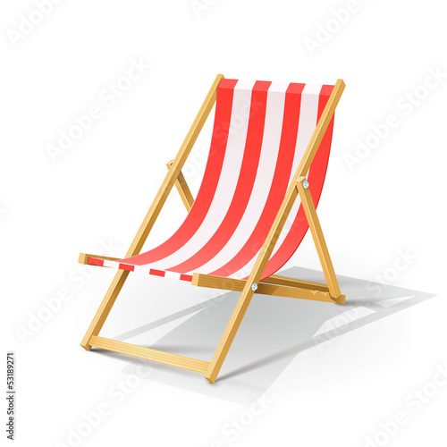 Stampa su Tela wooden beach chaise longue vector illustration isolated on