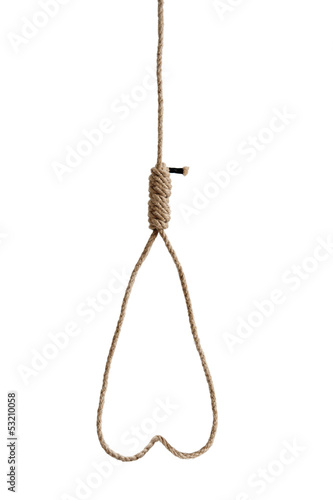 hangmans rope noose isolated on white Fototapeta