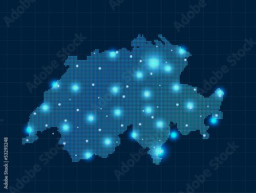 Canvas Print pixel Switzerland map