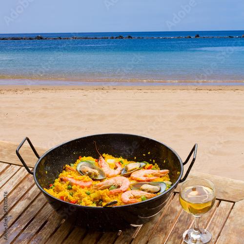 Seafood paella in seaside cafe