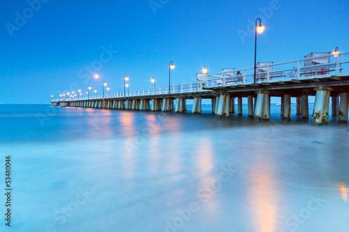 Baltic pier in Gdynia Orlowo at night, Poland #53480046