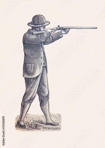 Slika na platnu chasseur du 19 éme siècle, gravure de 1898
