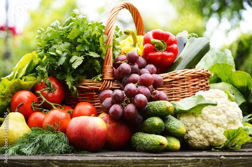 Fototapete Fresh organic vegetables in wicker basket in the garden