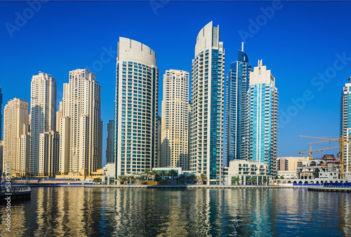 High rise buildings and streets in Dubai, UAE #53667011