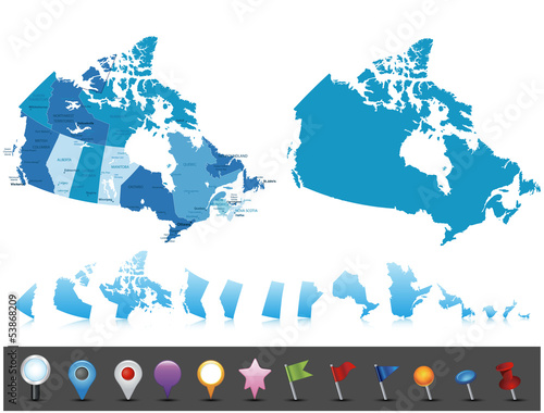 Wallpaper Mural Canada - highly detailed political map.