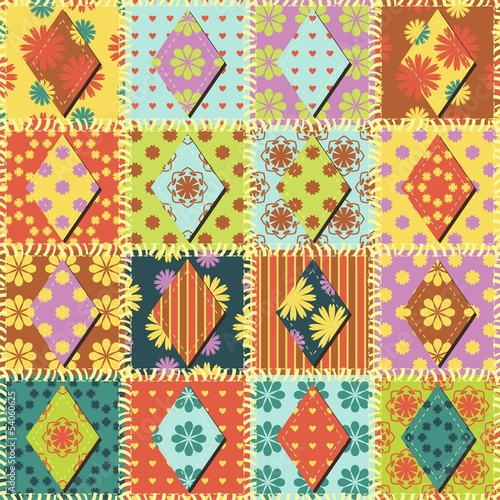 Wallpaper Mural patchwork background wth different paterns