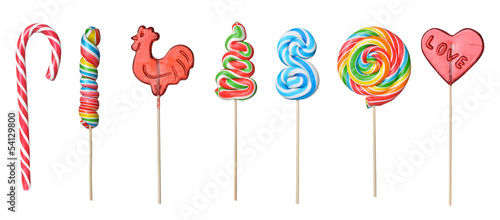 Canvas Print set of colorful lollipops isolated on white background