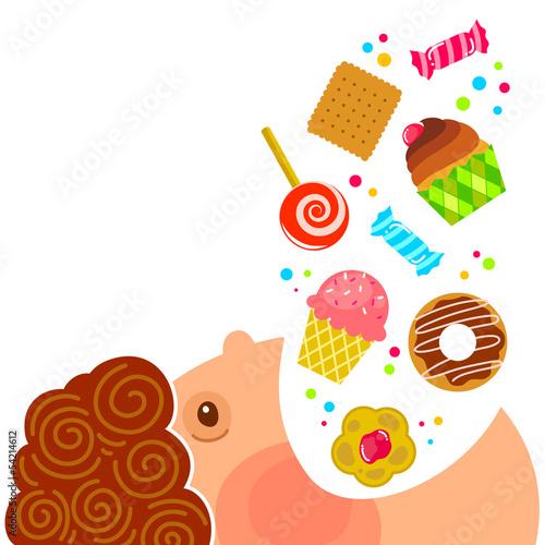 cartoon boy eating lots of sweets Fototapeta
