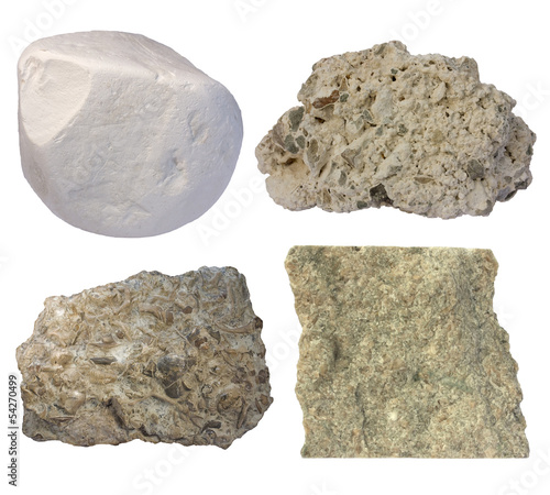 Fotografia Limestone collage (chalk, tufa, fossiliferous limestone, grainst