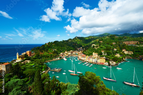 Canvas Print Portofino village on Ligurian coast, Italy