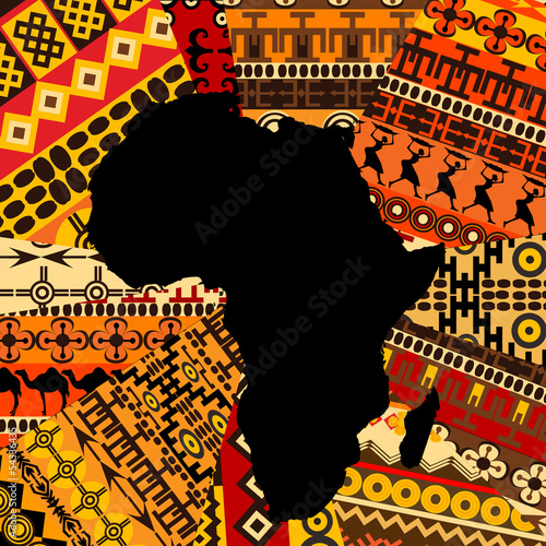 Wallpaper Mural Africa map on ethnic background